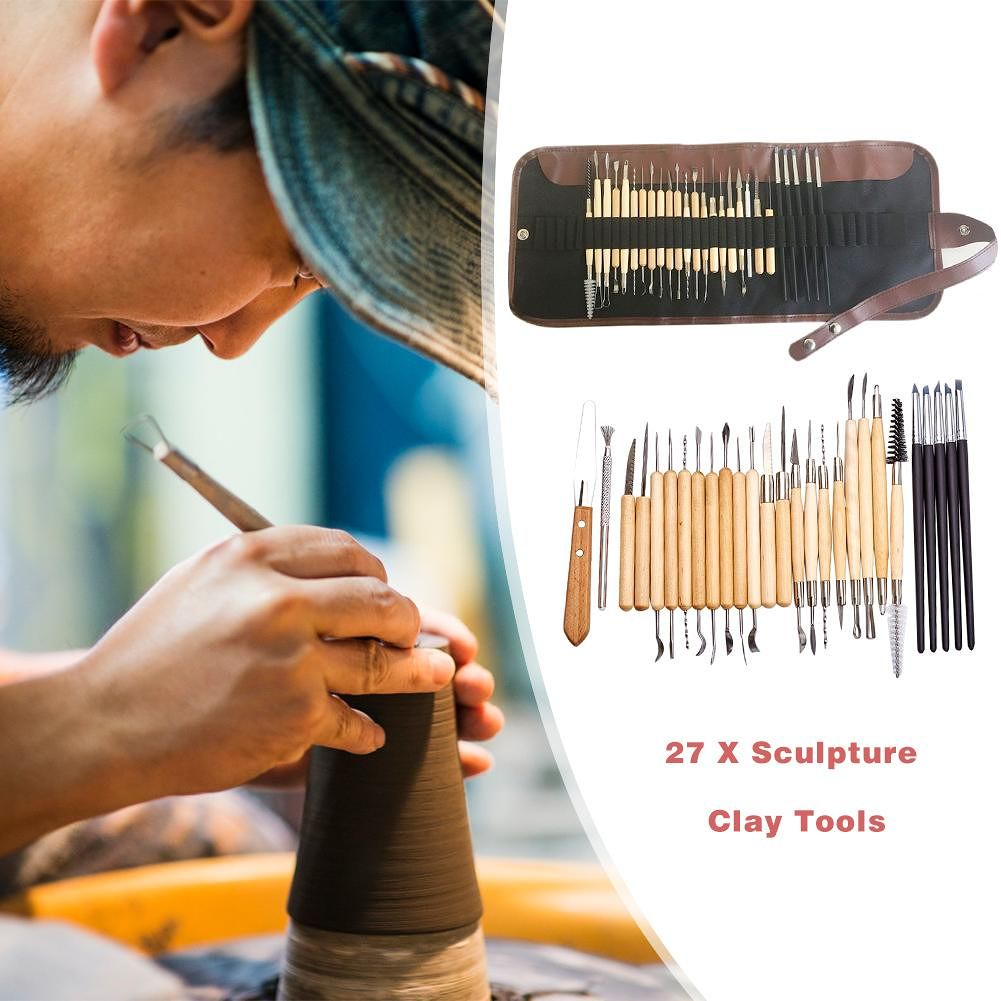 27pcs DIY Clay Pottery Tool Wood Handle Sculpting Ceramics Art Modeling Kit