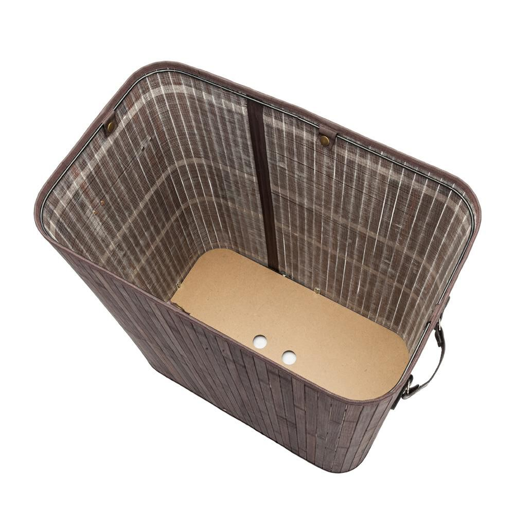 Dark Brown Double Lattice Bamboo Moisture-Proof Folding Basket With Cover