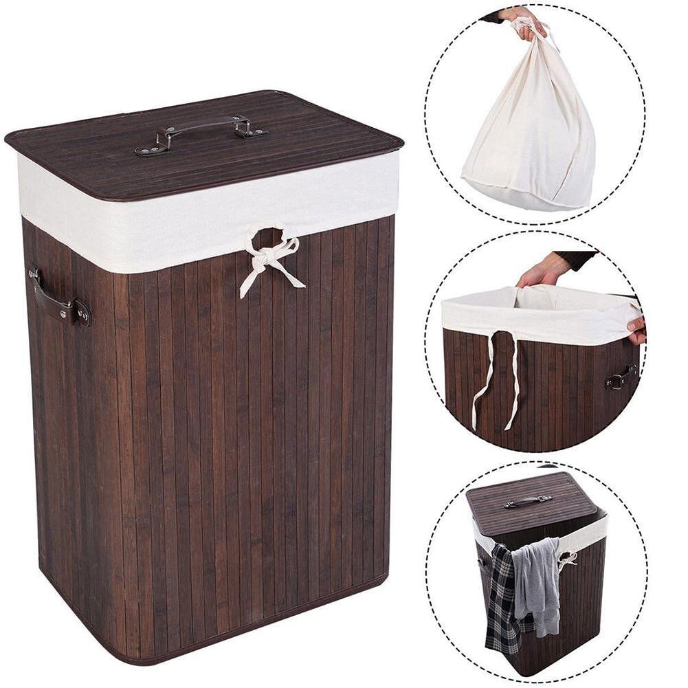 Dark Brown Moisture-Proof Single Plaid Bamboo Folding Basket Body With Lid