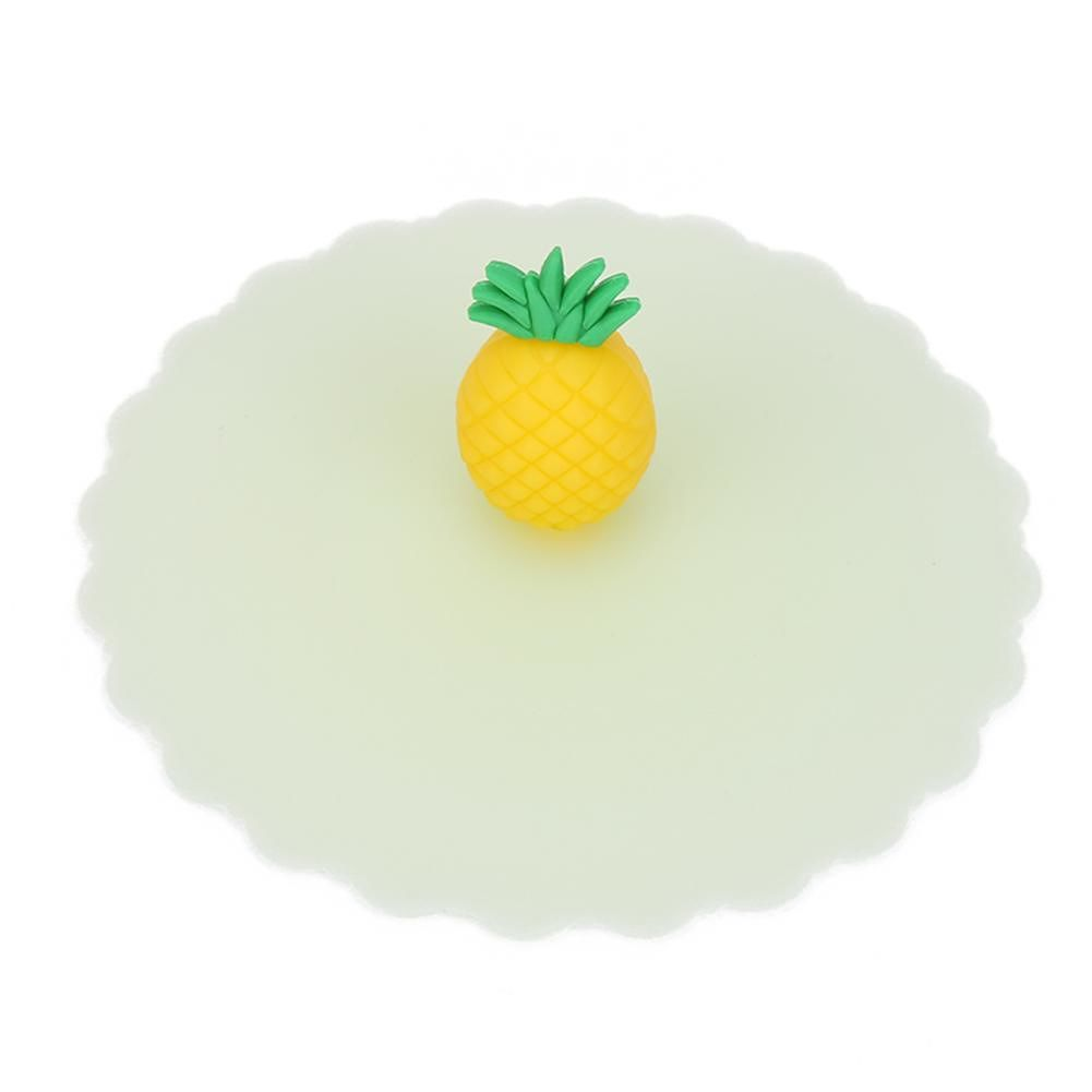 Cartoon Silicone Cup Cover Heat Resistant Sealed Cups Lid (Pineapple Head)