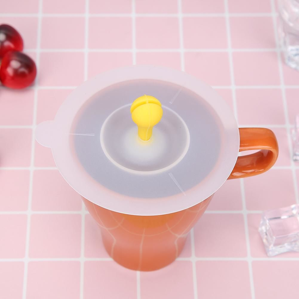 Cute Small Bean Sprout Silicone Cup Cover Heat Resistant Cups Lid (Yellow)