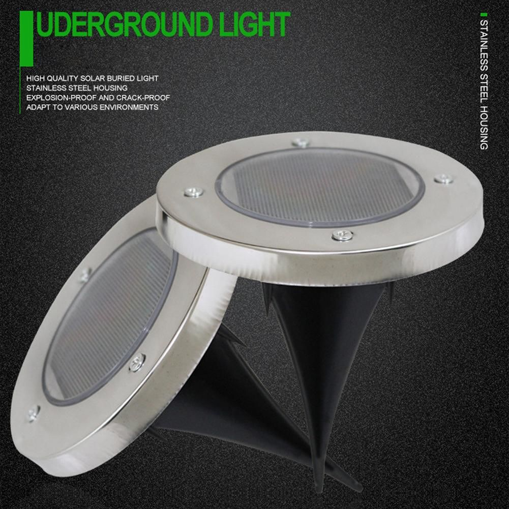 2LED Solar Underground Light Waterproof 7 Color Changing Yard Buried Lamp