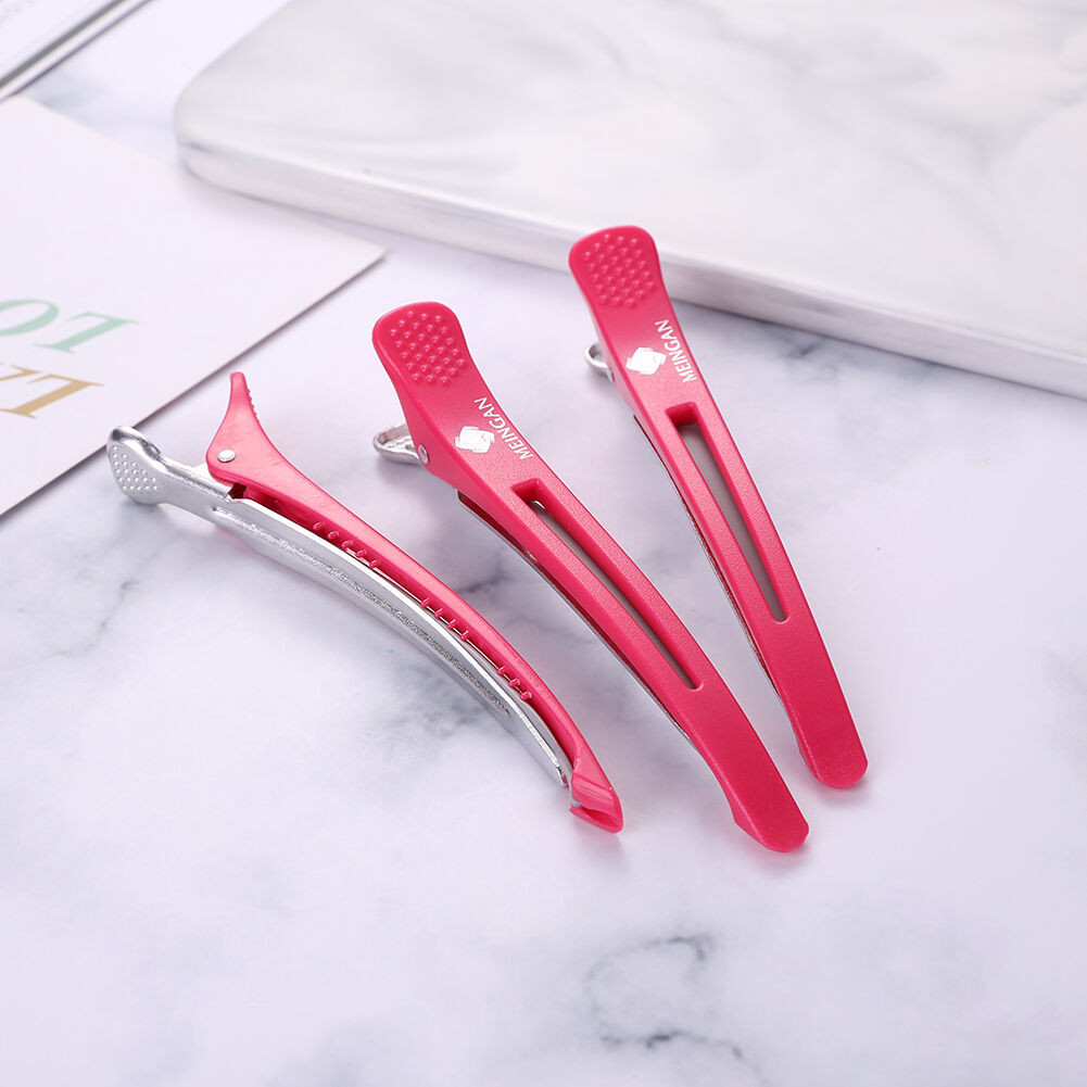 6pcs Alligator Hair Clips Hairdressing Hair Styling Tool (Watermelon Red)