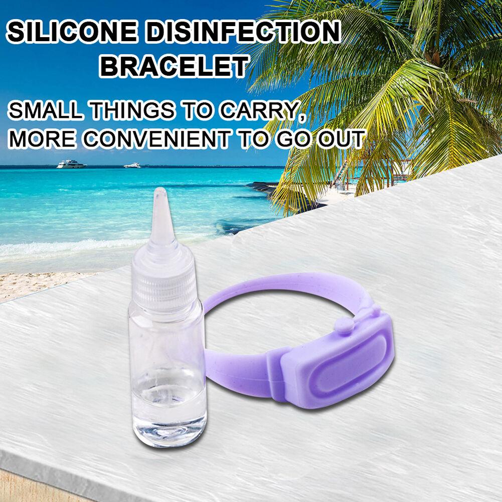 3 Set Outdoor Hand Dispenser Bracelet with Empty Squeeze Bottle (Purple)
