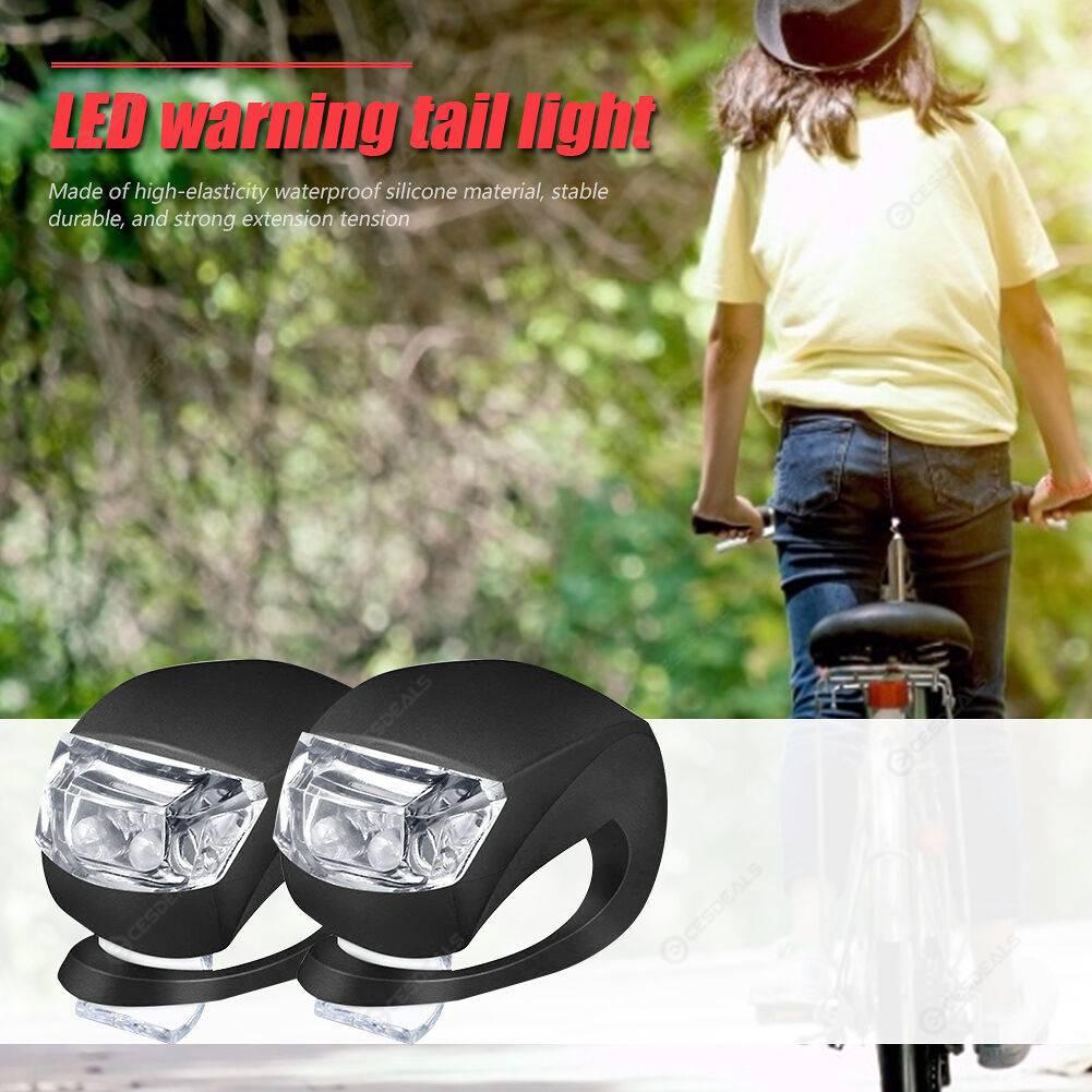LED Silicone Bicycle Front Rear Light Set Bike Headlight Tail Warning Lamp