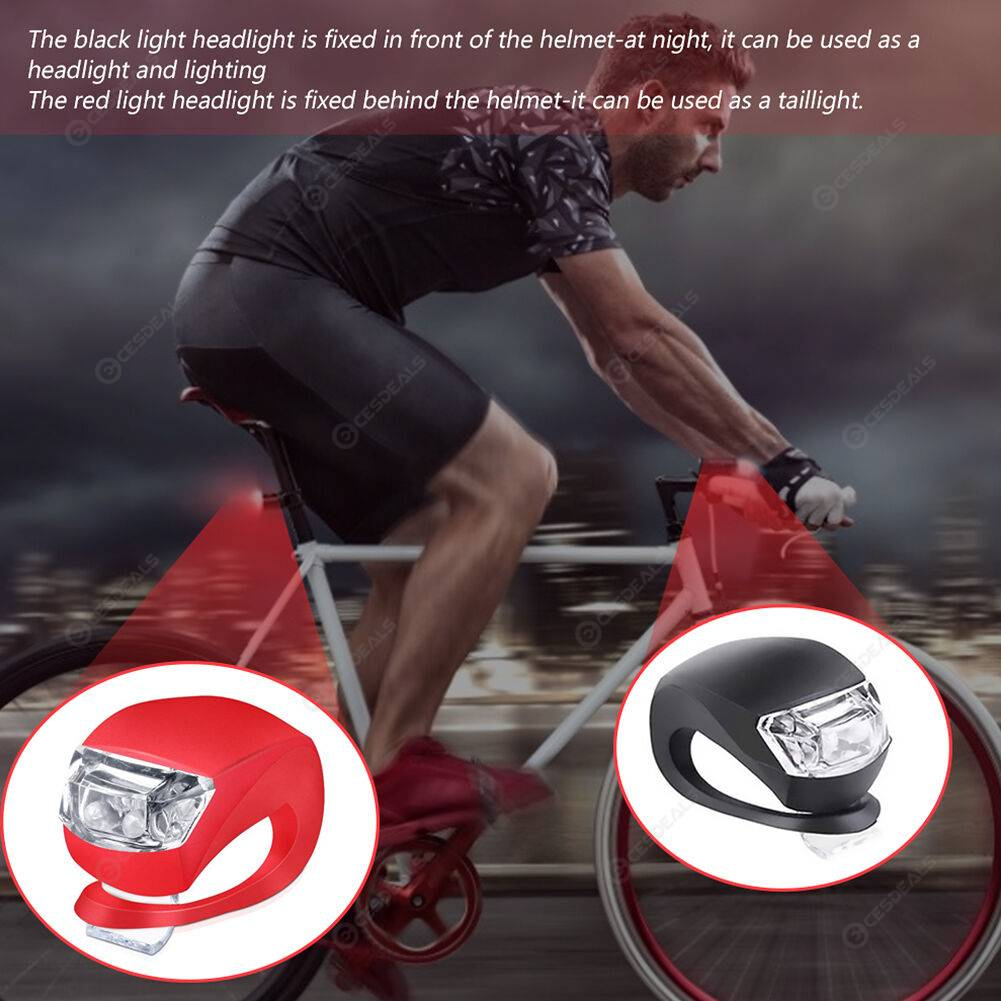 Waterproof LED Silicone Bicycle Front Rear Tail Light Set 3 Black + 3 Red