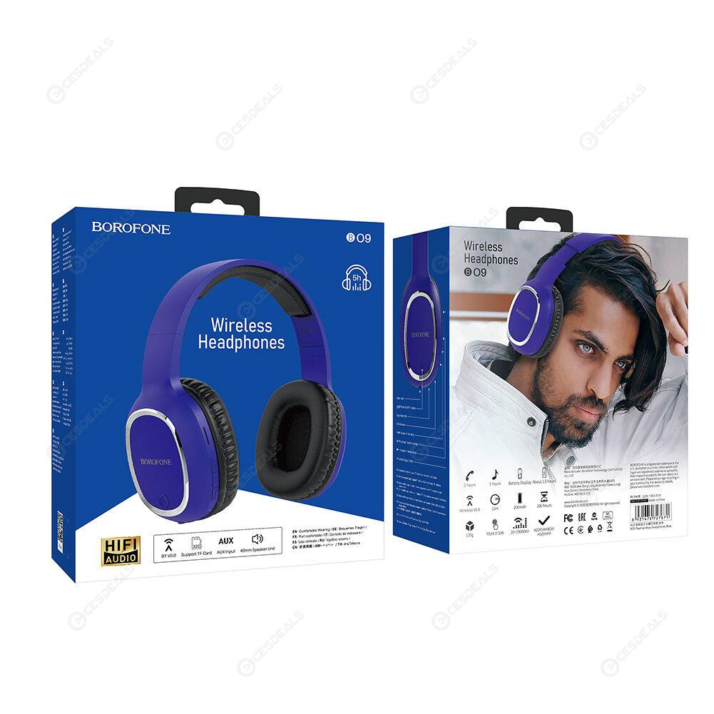 BOROFONE BO9 Bluetooth Wireless Deep Bass Music TF Card Headphone (Blue)