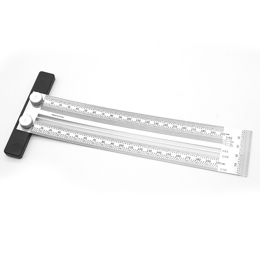 T-type Right Angle Ruler Woodworking Scribe Drawing Mark Line Gauge (200mm)