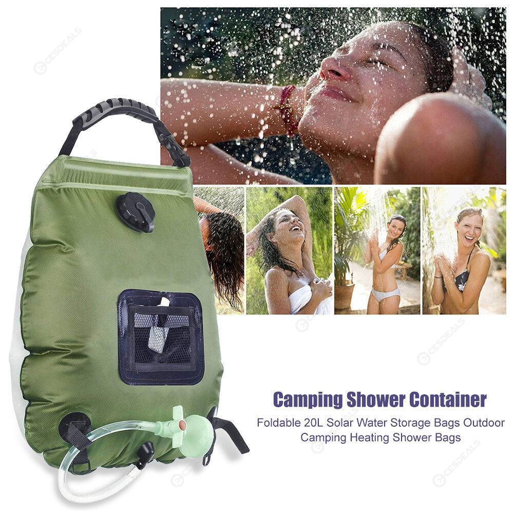 Foldable 20L Solar Water Storage Bags Outdoor Heating Shower Bags (Green)