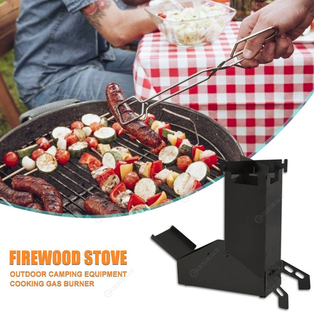Foldable Outdoor Camping Stainless Steel Wood Burning Rocket Stove (Black)