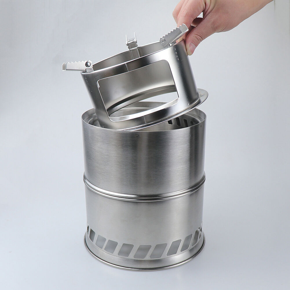 Wood Burning Stove Outdoor Camping BBQ Cookware Alcohol Cooking Furnace