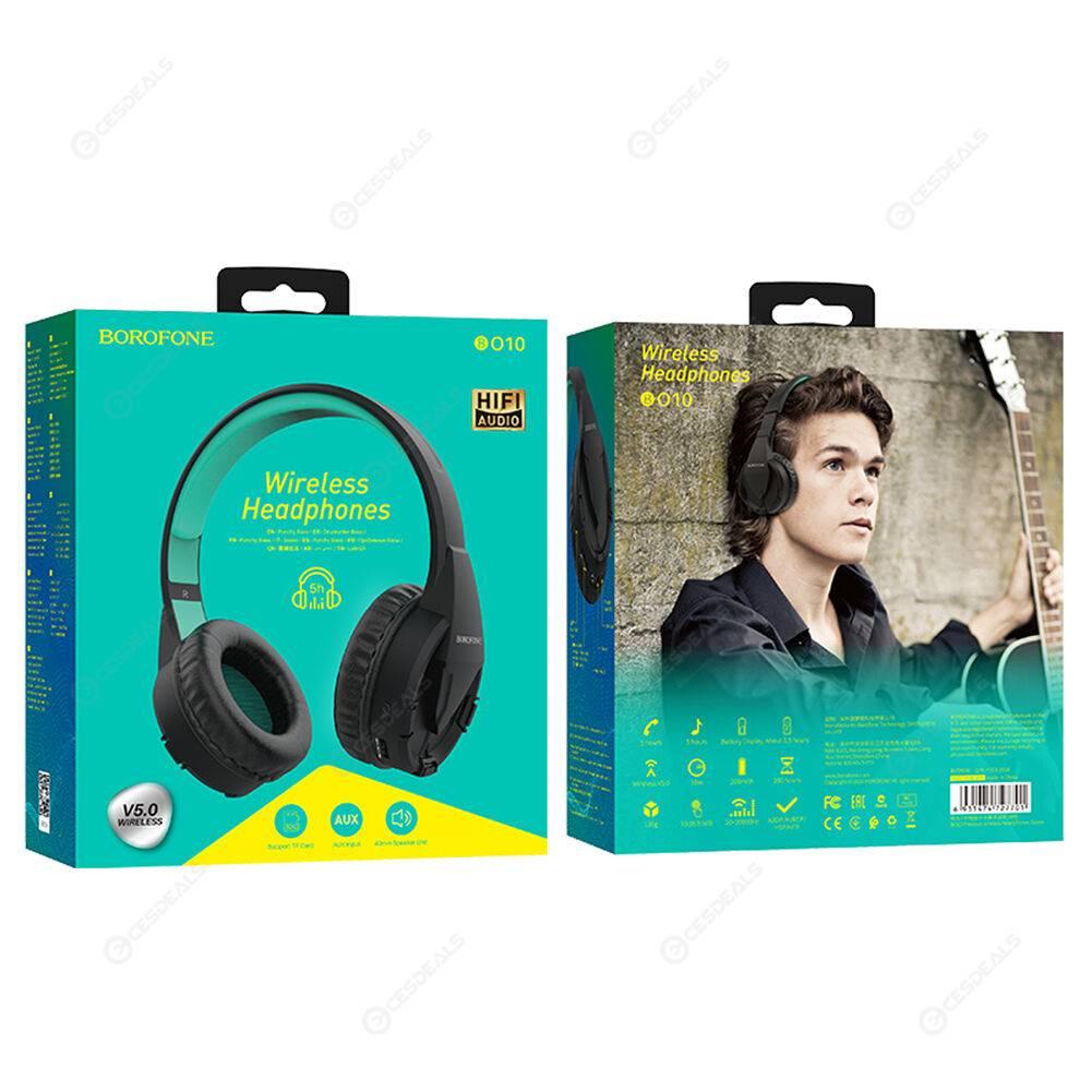 BOROFONE BO10 Bluetooth Sports Music Wireless Microphone Headset (Green)