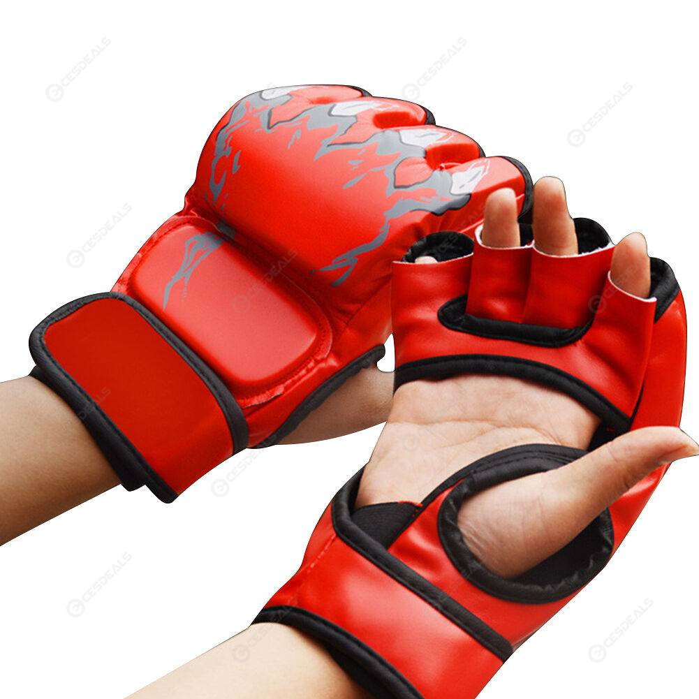 2pcs Boxing Gloves Muay Thai Training Half Finger Gloves (Tiger Claw Red)