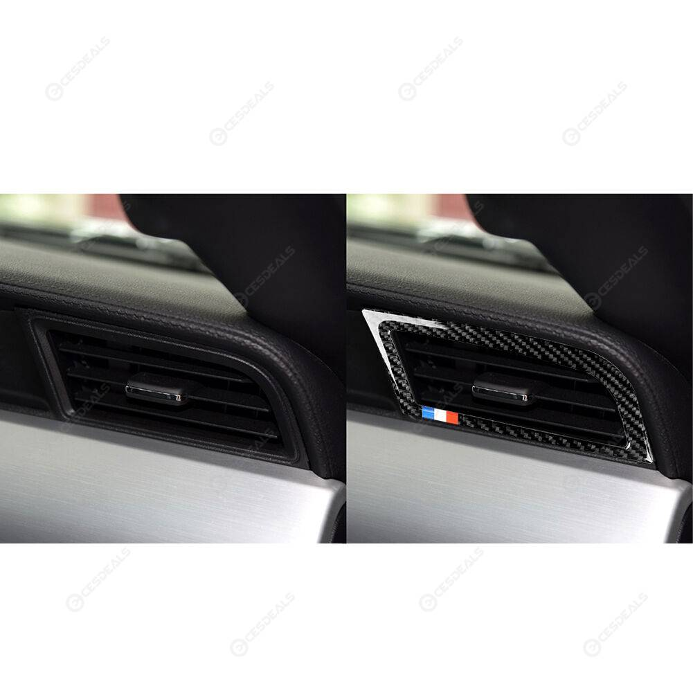 1 Pair Carbon Fiber Dash A/C Air Vent Frame Trim for Ford Mustang 2015-2017