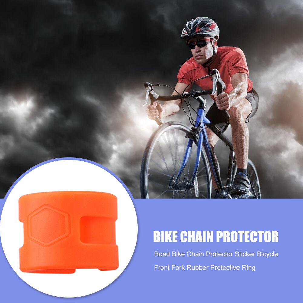 Bike Chain Protector Sticker Bicycle Front Fork Protective Ring (Orange)