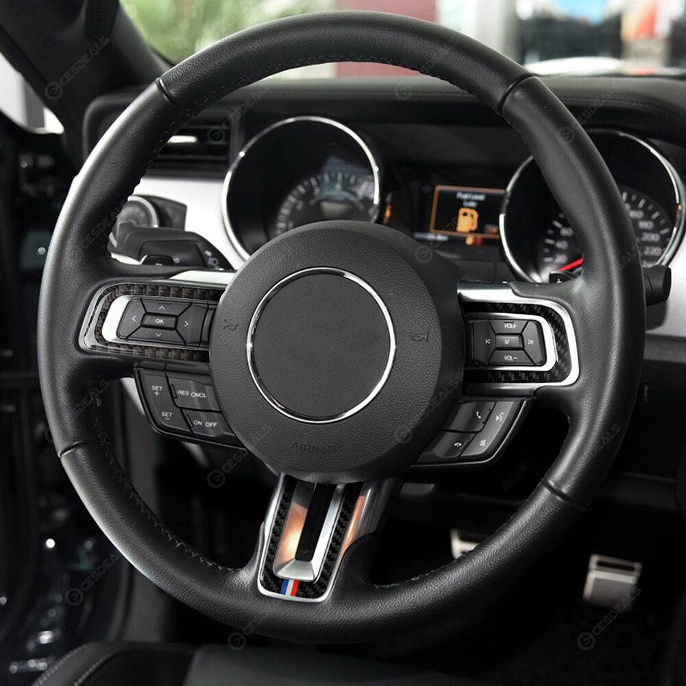 3pcs/set Carbon Fiber Steering Wheel Trim Cover for Ford Mustang 2015-2017