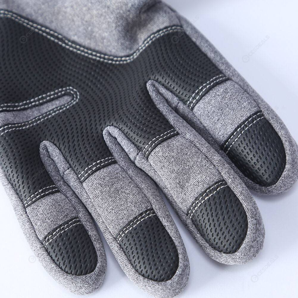 2x Fleece Outdoor Cycling Gloves Touch Screen Waterproof Gloves (Grey M)