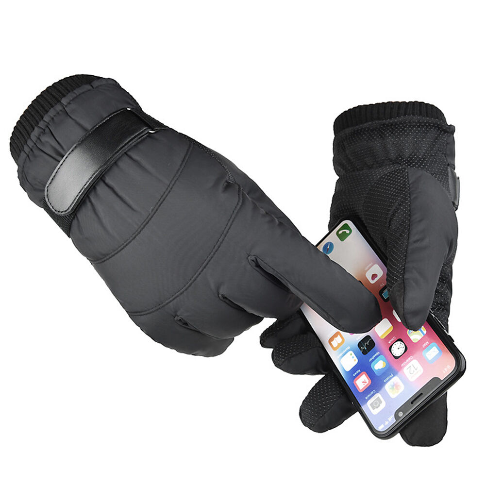 1 Pair Fleece Outdoor Cycling Gloves Touch Screen Waterproof Gloves (Black)
