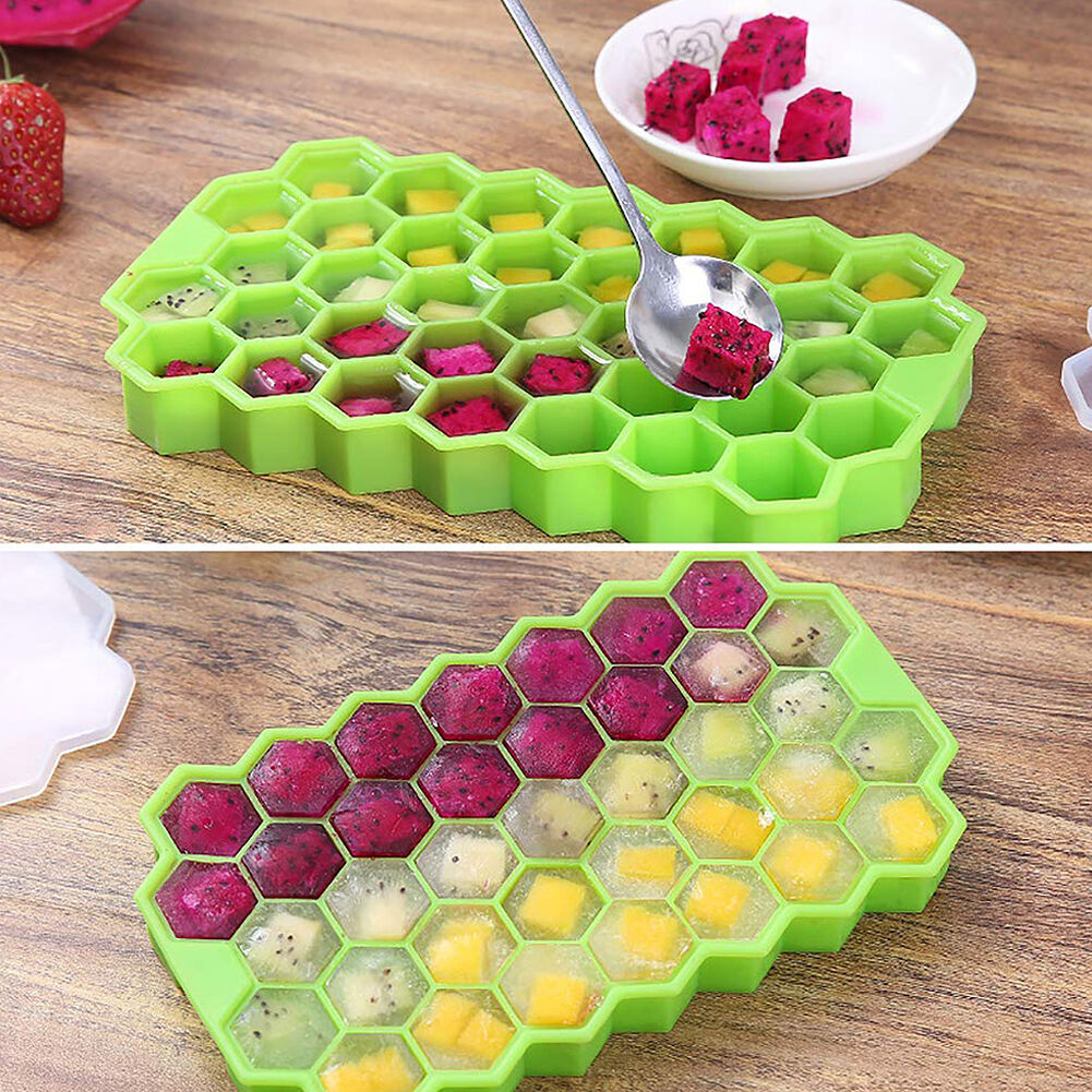 2pcs 37 Grids Honeycomb Shape Silicone Ice Tray DIY Homemade Ice Cube Mould
