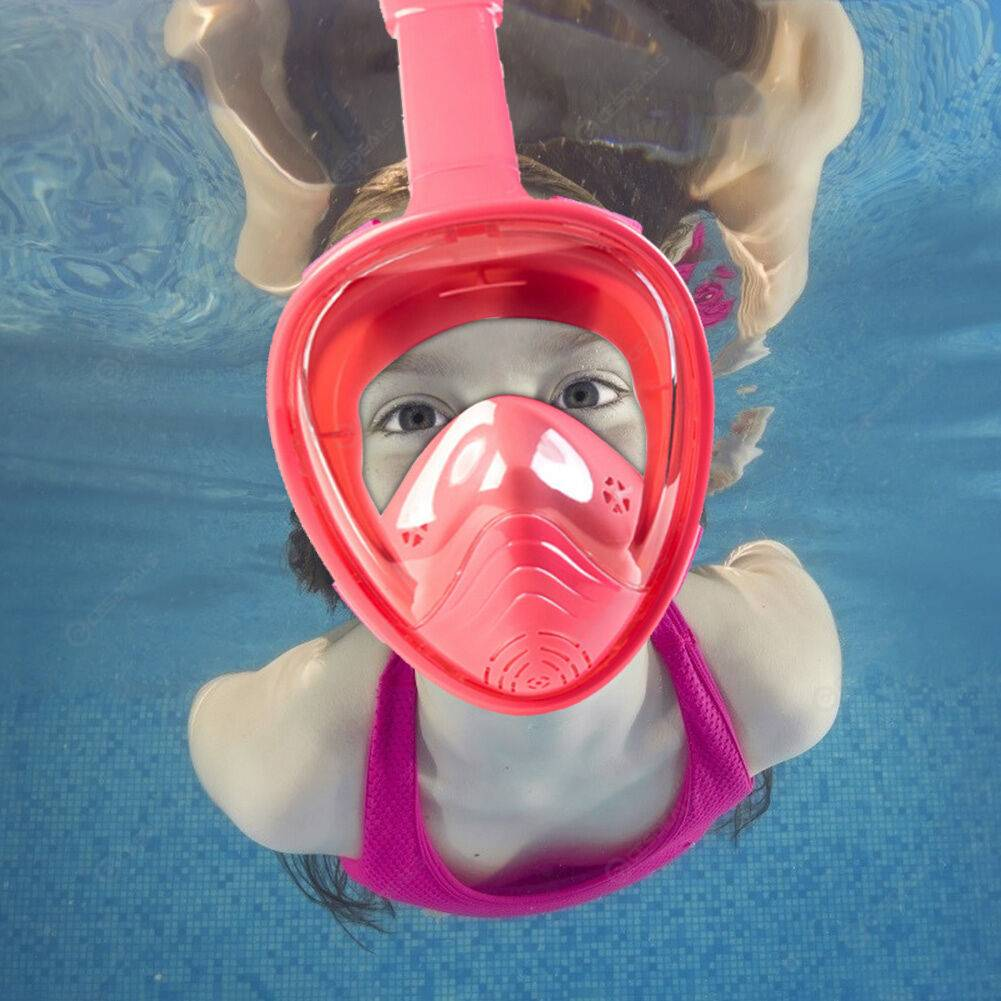 Kids Anti-Fog Full Face Snorkeling Mask Diving Respirator Goggles (Pink)