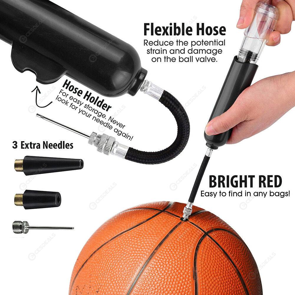 8 inch Sport Ball Inflatable Pump Basketball Football Air Inflator (Black)