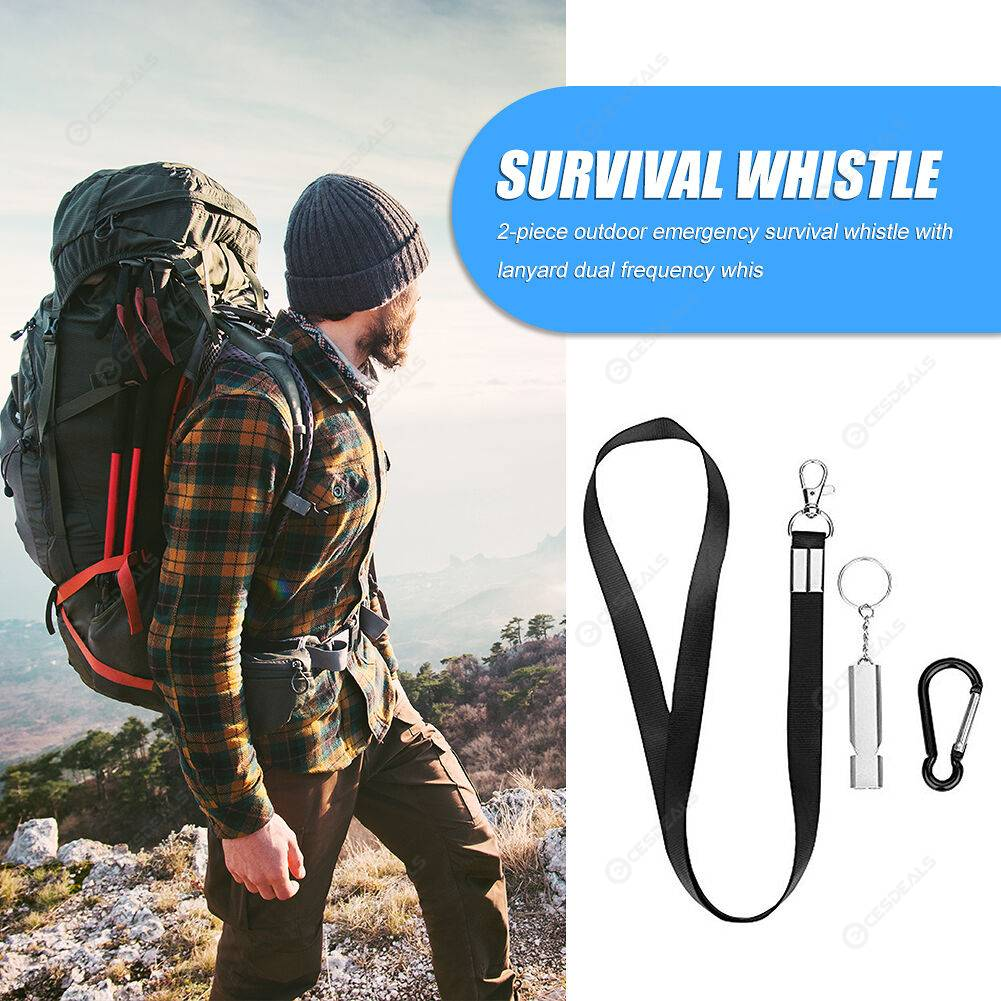 2x Camping Training Dual Band Survival Loud Whistle with Lanyard Carabiner