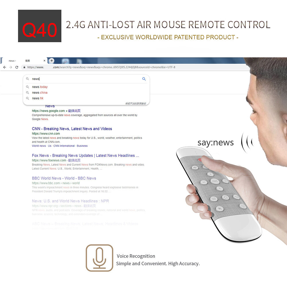 Q40 2.4G Wireless Air Mouse Adapter Gyro Voice IR Wireless Control Switch
