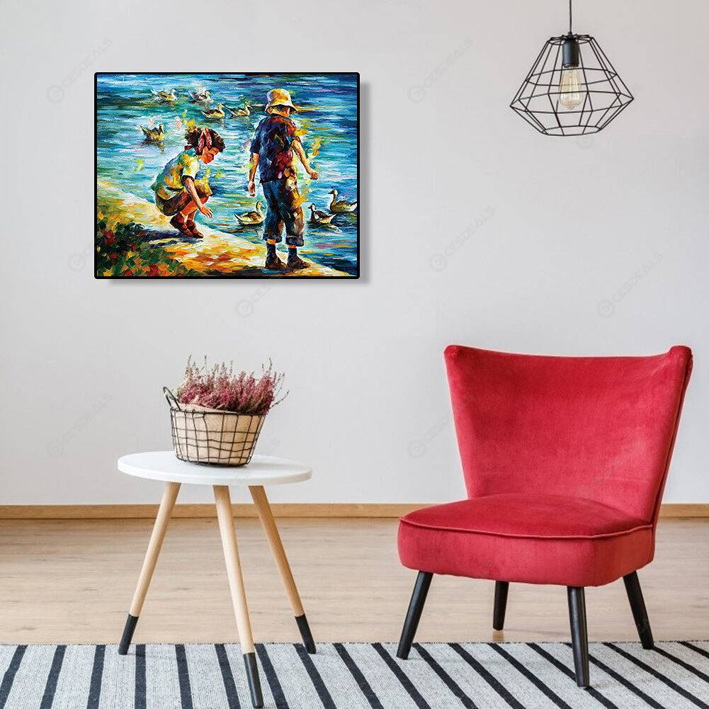 Kids by the River Print No Frame Modern Canvas Wall Poster Picture Painting