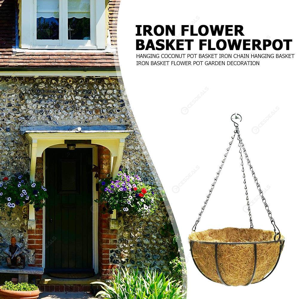 Iron Coconut Palm Baskets Flower Plant Pot Chain Hanging Liner Planter (B)