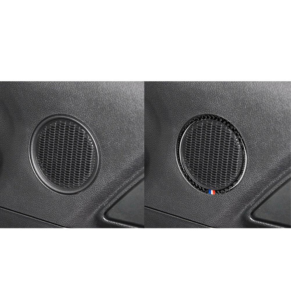 1Pair Carbon Fiber Speaker Frame Trim Red+White+Blue for Ford Mustang 15-17