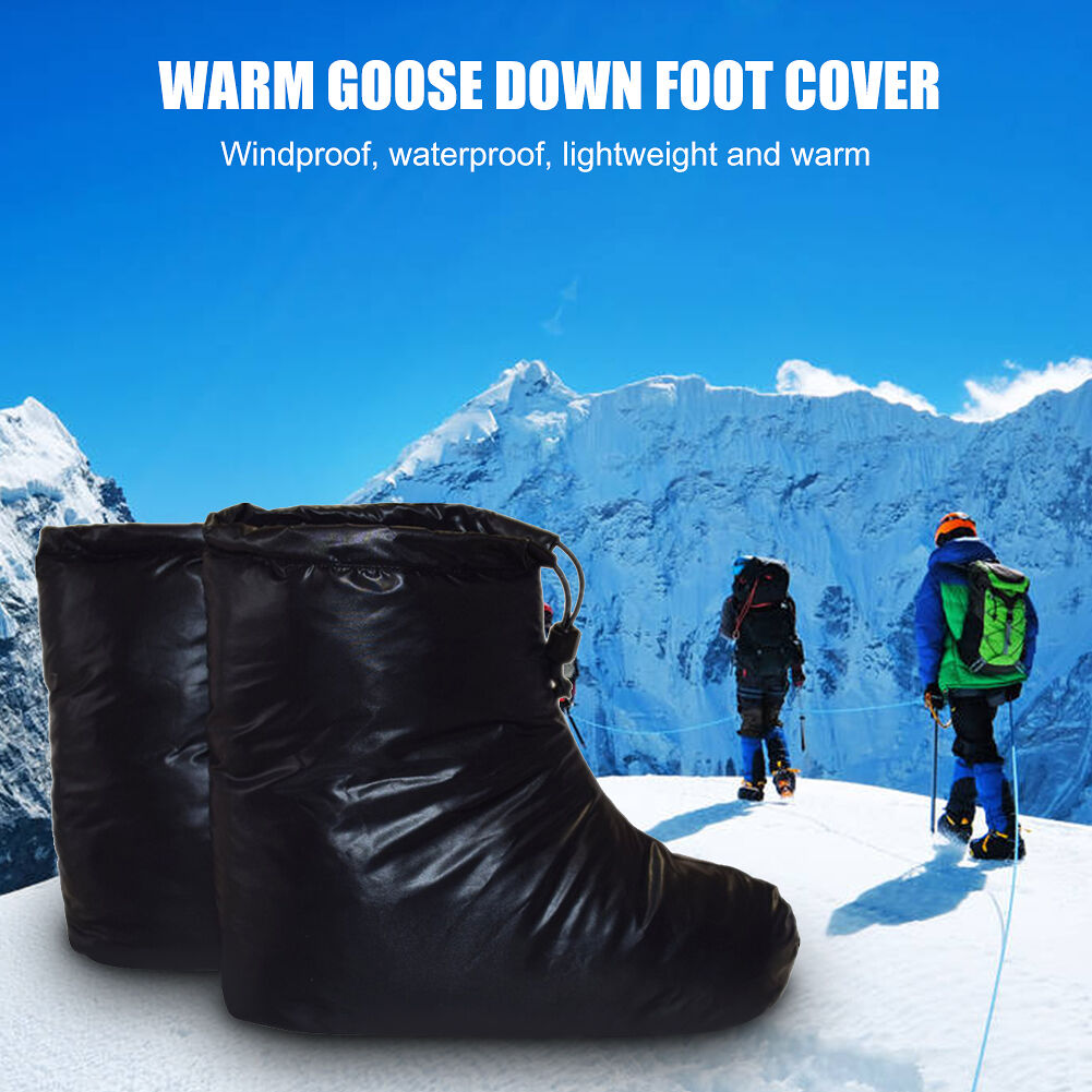 Women Men Outdoor Camp Goose Down Slippers Waterproof Shoes Cover (Black M)