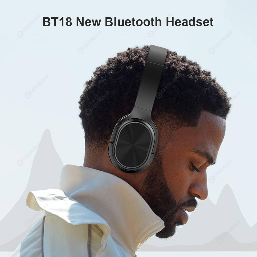 BT18 Foldable Bluetooth Headphone Wireless Mic Gaming Sports Stereo Headset