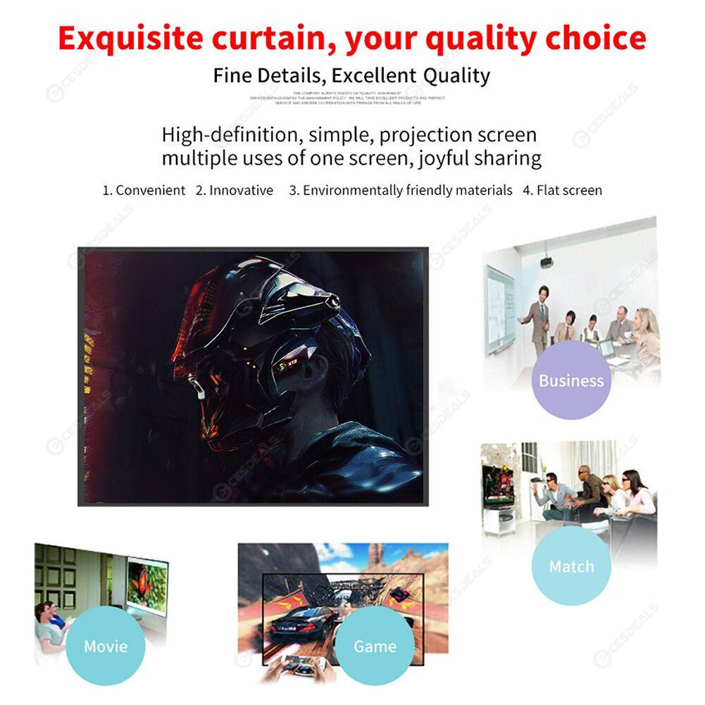 16:9 Simple Projector Curtain 150 inch HD Display Screen for Home Office