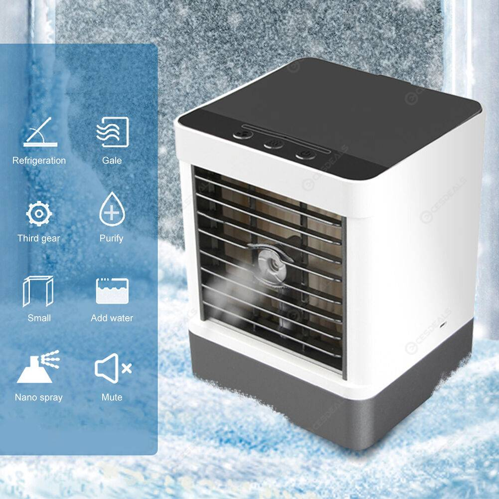 Mini Air Conditioner 3 Modes Speed Humidifier Purifier Desktop Air Cooler