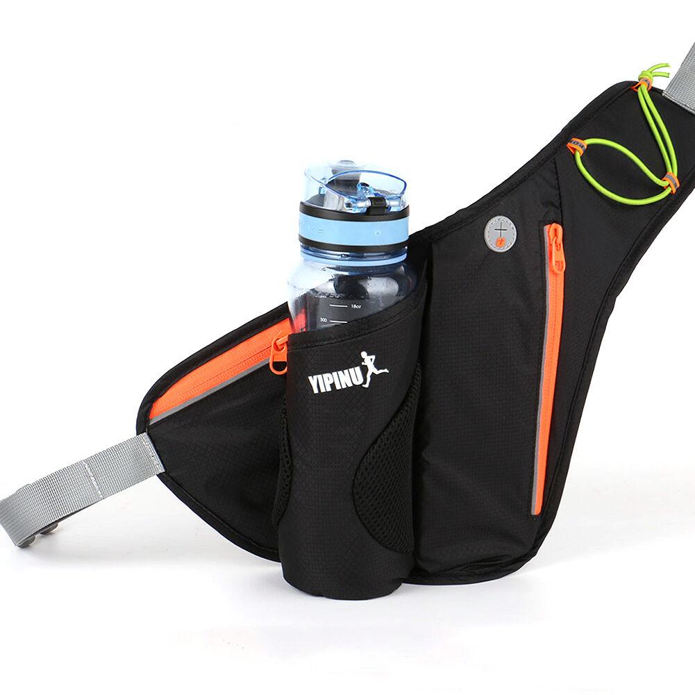 Women Men Waterproof Outdoor Sports Waist Bags with Bottle Holder (Black)