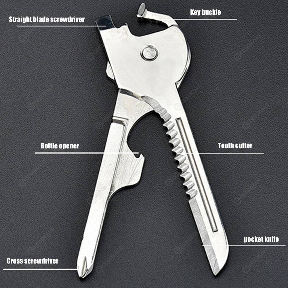 6 in 1 Multi-Functional Mini Key Knife Survive Pocket Opener Keychain Tool