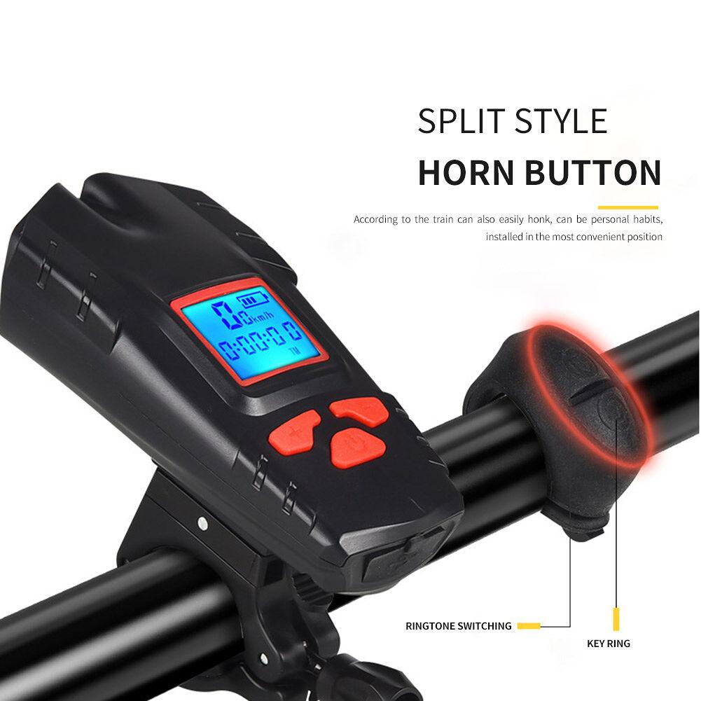 4 Mode Bicycle Light Bike Computer Horn Speedometer LED Flashlight (Red)