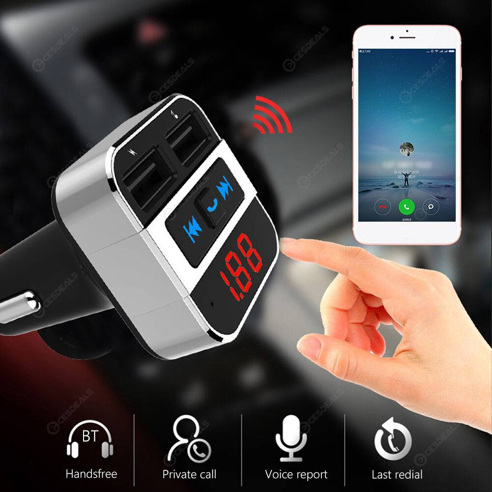 HK207 Car FM Transmitter Bluetooth Handsfree Line In MP3 Player USB Charger