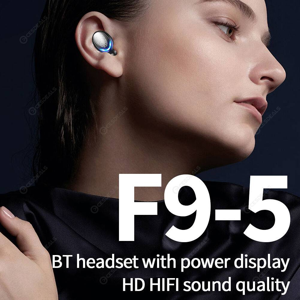 F9-5 Touch Bluetooth Earphones Handsfree Music Sports Mic Wireless Earbuds