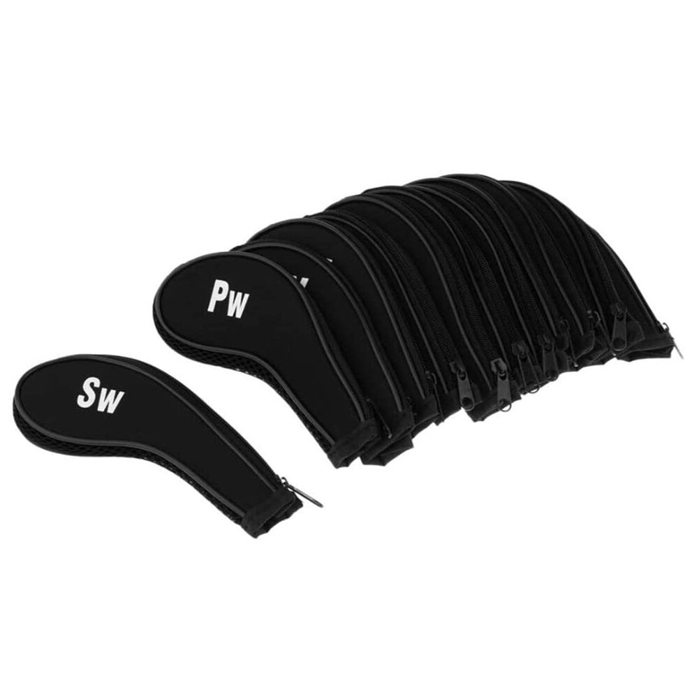 12pcs/set Zipper Iron Wedge Headcover for 3 4 5 6 7 8 9 Aw Sw Lw Pw (Black)