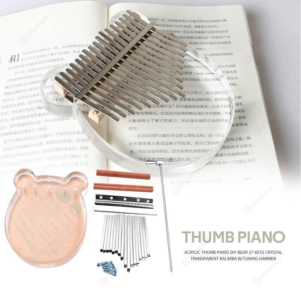 DIY Bear 17 Keys Transparent Kalimba Acrylic Thumb Piano with Tuning Hammer