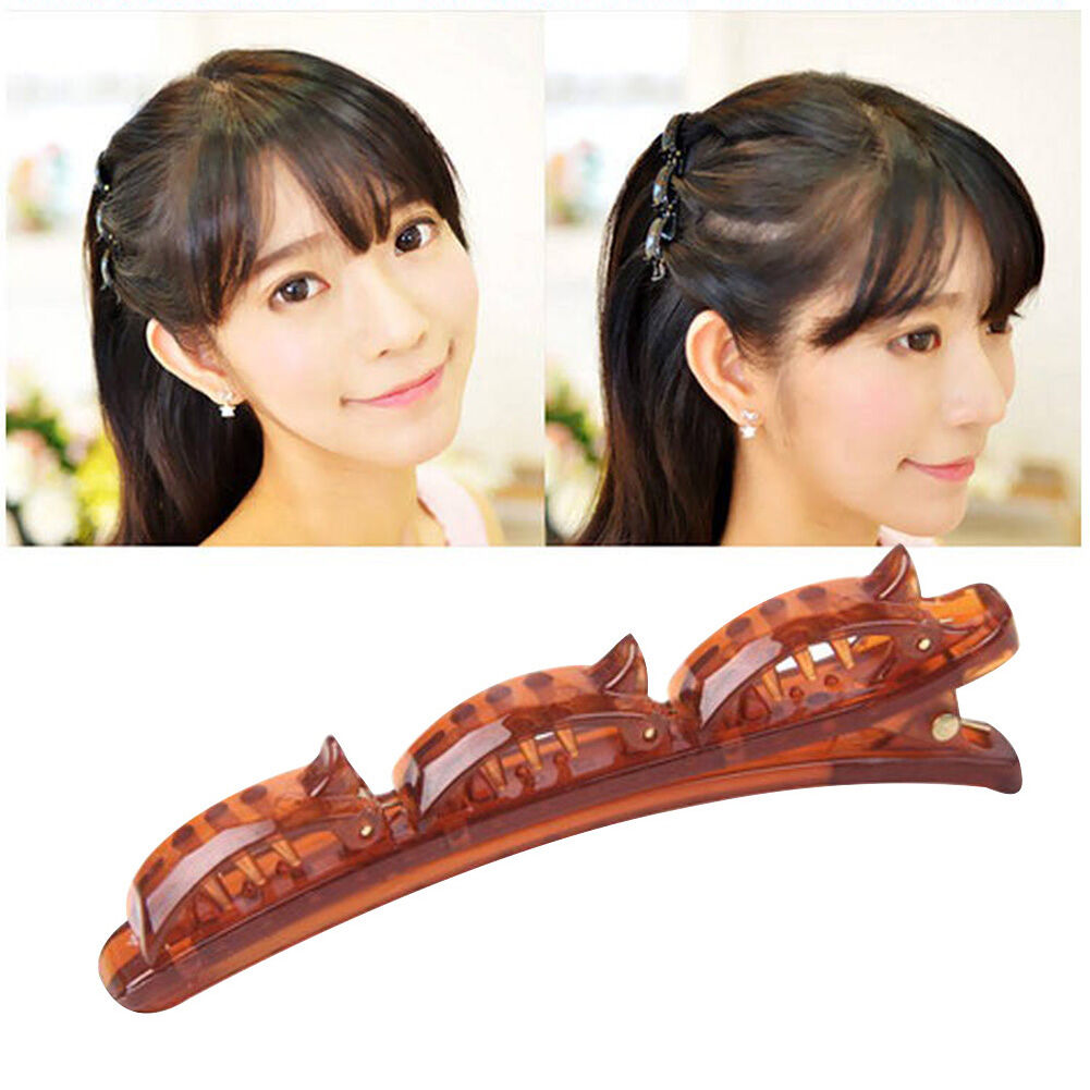 Braided Bangs Clips Double Hair Pin Headdress Barrette Comb Hairpin (Brown)