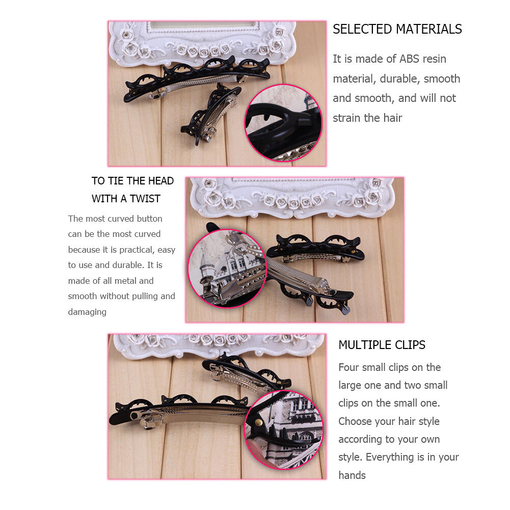 2pcs Braided Bangs Clip Women Hairstyle Double Bang Clips Pin Grip (Black)