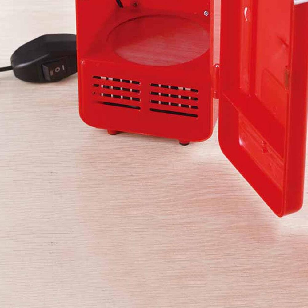 Portable LED Cooler Warmer Fridge USB Mini Drink Cans Refrigerator (Red)