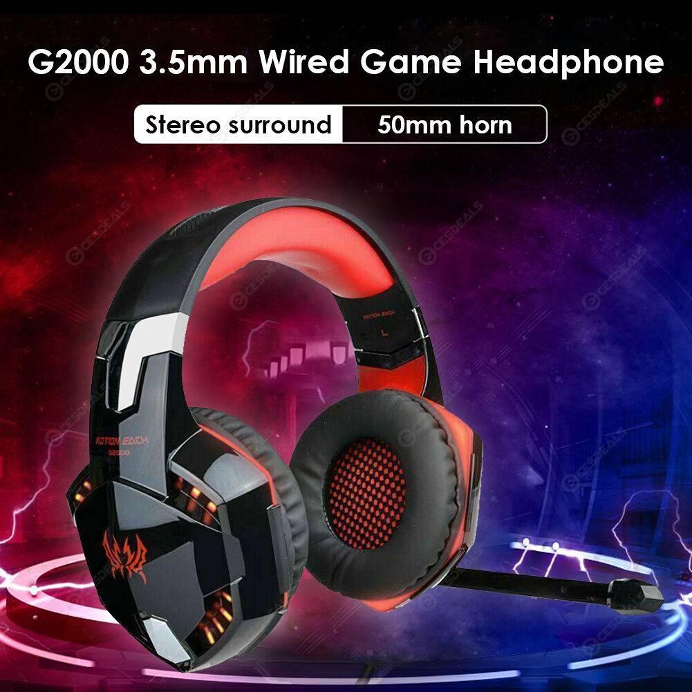 G2000 Gaming Headset 3.5mm Wired Deep Bass Lighting Music Sports Headphone