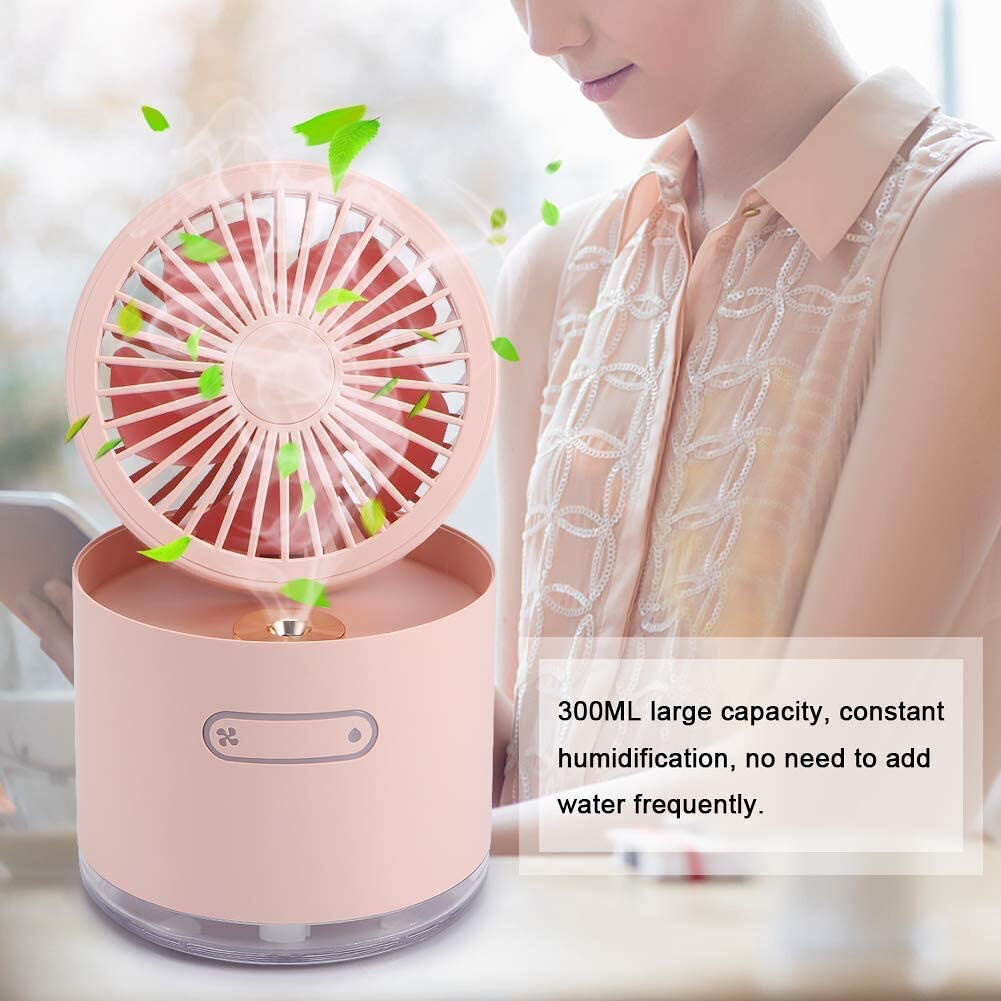 300ml Water Spray Mist Fan USB Rechargeable Night Light Air Cooler (Pink)