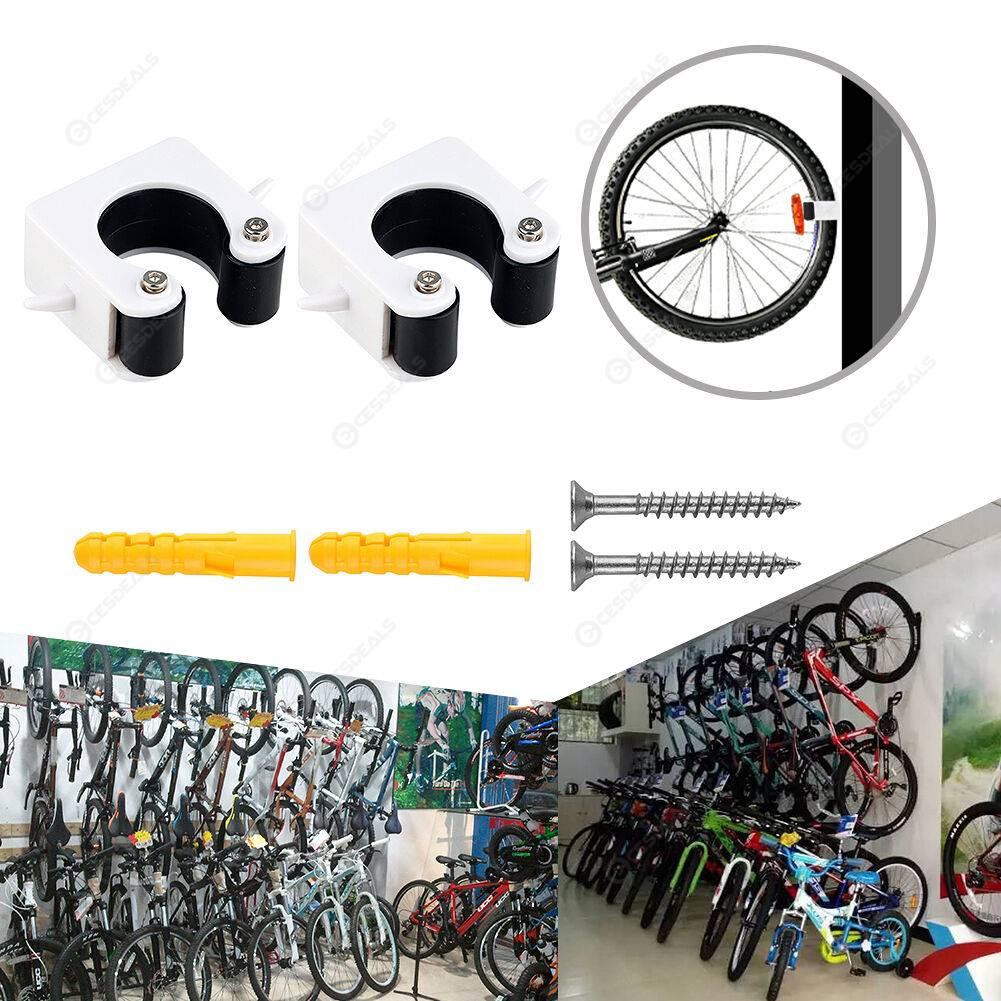 2pcs Wall Mount Bicycle Hook Road Bike Rack Vertical Horizontal Clip Black