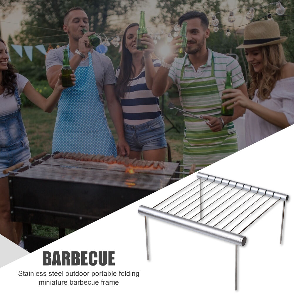 Portable Folding Camping Grill Outdoor Picnic Barbecue Grill with Lanyard