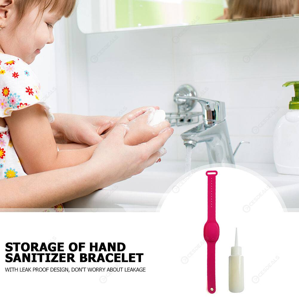 Silicone Wristband Leak-proof Hand Sanitizer Bracelet Soap Dispenser (Red)