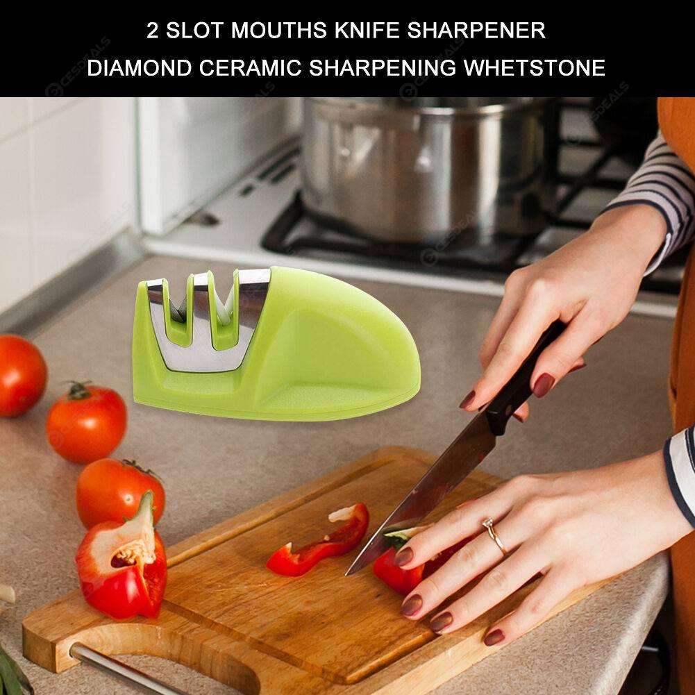 2 Slot Mouths Knife Sharpener Diamond Ceramic Sharpening Whetstone (Green)